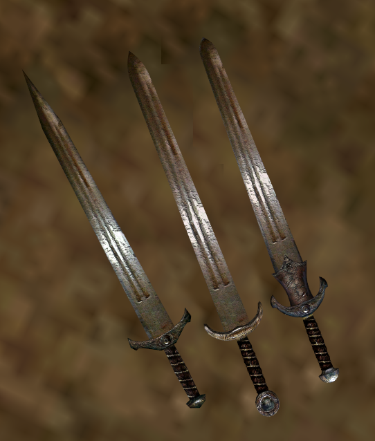 From left to right: quorn's Steel Broadsword Fix, Pherim's Shortsword-Based, Pherim's Longsword-Based.